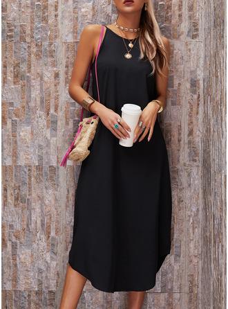 Solid Shift Sleeveless Maxi Casual Vacation Dresses