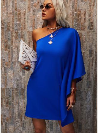 Pevný Šaty Shift Dlouhé rukávy Mini Neformální Módní šaty