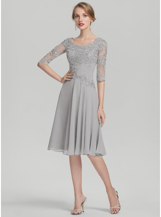 A-Linie U-Ausschnitt Knielang Chiffon Kleid für die Brautmutter mit Rüschen Applikationen Spitze