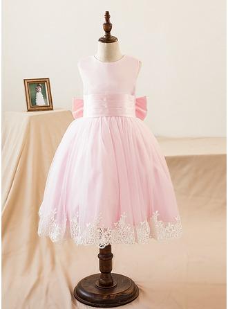 Vestidos princesa/ Formato A Coquetel Vestidos de Menina das Flores - Cetim Sem magas Decote redondo com Apliques de Renda/Curvado