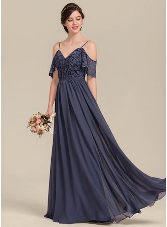 A-Line/Princess V-neck Floor-Length Chiffon Lace Bridesmaid Dress With Cascading Ruffles