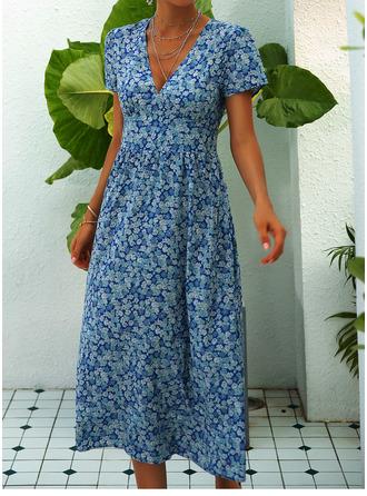 Mi-longue Col V Polyester imprimé Manches courtes Robes tendance