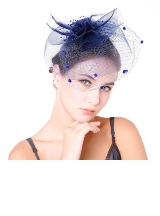 Dames Glamour Feather/Fil net avec Feather Chapeaux de type fascinator