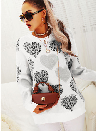 Round Neck Casual Beaded Leopard Sweaters