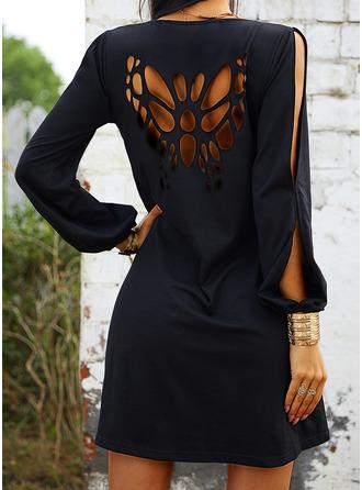 Sólido Vestidos sueltos Top sin hombros Manga Larga Mini Pequeños Negros Casual Vacaciones Túnica Vestidos de moda