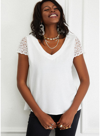 Lace Solid V-Neck Short Sleeves Casual Blouses