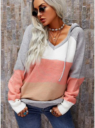 Hooded Casual Color Block Sweaters