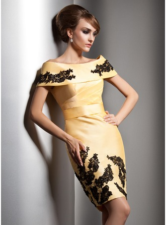Sheath/Column Off-the-Shoulder Knee-Length Taffeta Evening Dress With Beading Appliques Lace Sequins