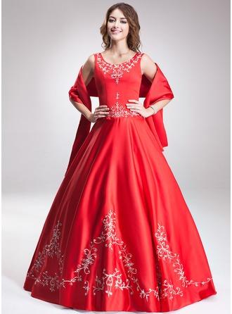 Duchesse-Linie U-Ausschnitt Bodenlang Satin Quinceañera Kleid (Kleid für die Geburtstagsfeier) mit Bestickt Perlen verziert