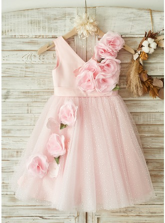 A-Line Knee-length Flower Girl Dress - Satin/Tulle Sleeveless Scoop Neck With Flower(s)