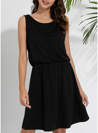 Solid Sheath Sleeveless Mini Little Black Casual Vacation Dresses