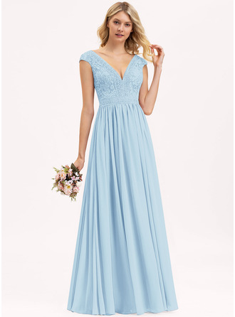 A-Line V-neck Floor-Length Chiffon Lace Bridesmaid Dress