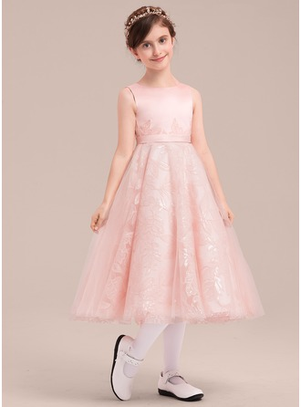A-Line/Princess Tea-length Flower Girl Dress - Satin/Tulle/Lace Sleeveless Scoop Neck With Sequins