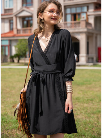 Lace Solid A-line 3/4 Sleeves Mini Little Black Casual Vacation Skater Dresses