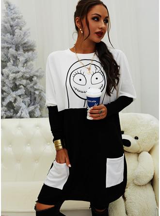 Color Block Print Halloween Round Neck Long Sleeves Sweatshirt