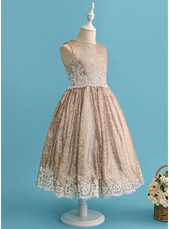 Платье Для Балла/Принцесса Длина ниже колен Нарядные платья для девочек - Кружева/С блестками Без Рукавов Круглый