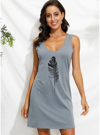 Shift V-Neck Polyester Dresses