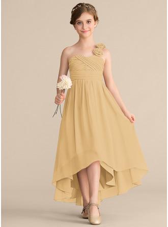 A-linjainen Yksiolkaiminen Epäsymmetrinen Sifonki Nuorten morsiusneito mekko jossa Rypytys Kukka(t) Rusetti