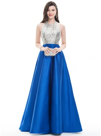 A-Line/Princess Halter Floor-Length Satin Prom Dress With Beading