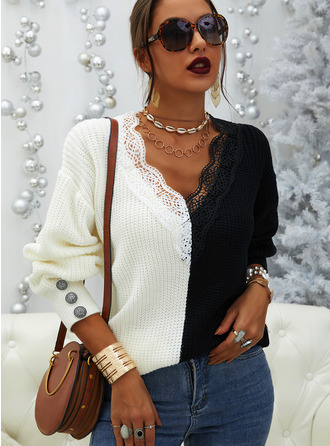 V-Neck Casual Lace Color Block Patchwork Sweaters