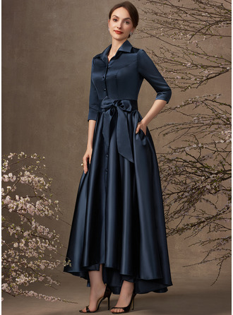 A-Line V-neck Asymmetrical Satin Mother of the Bride Dress With Bow(s) Pockets