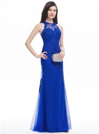 Trumpet/Mermaid Scoop Neck Floor-Length Tulle Prom Dresses