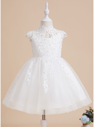 A-Line High Neck Knee-length With Beading/Sequins/Back Hole Tulle/Lace Flower Girl Dress
