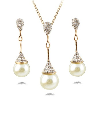 Mode Alliage Strass Pearl Dames Parures
