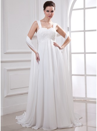 Empire Sweetheart Watteau Train Chiffon Wedding Dress With Lace Beading