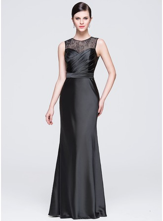 Sheath/Column Scoop Neck Floor-Length Satin Lace Evening Dress With Ruffle