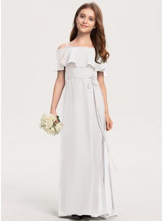 A-Linie Off-the-Schulter Bodenlang Chiffon Kleid für junge Brautjungfern mit Schleife(n)