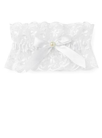Glamourous Lace With Bowknot Rhinestone Wedding Garters