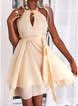 Solid A-line kjole Ermeløs Mini Elegant skater Motekjoler