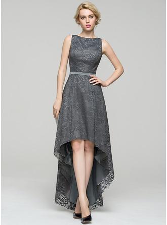A-Line/Princess Scoop Neck Asymmetrical Lace Evening Dress