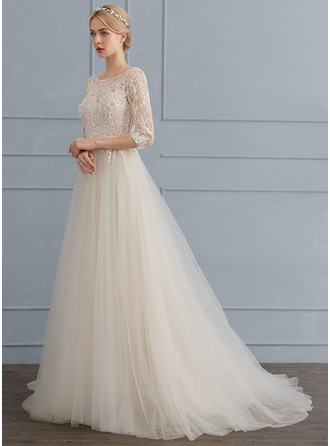 A-Line/Princess Scoop Neck Sweep Train Tulle Wedding Dress With Flower(s)