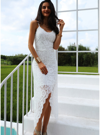 Lace Solid Spaghetti Straps Sleeveless Maxi Dresses (294248319)
