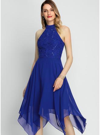 Трапеция Высокая шея асимметричный шифон Коктейльные Платье с блестки