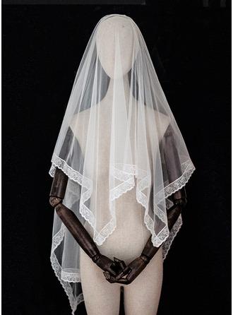 Two-tier Lace Applique Edge Elbow Bridal Veils With Lace