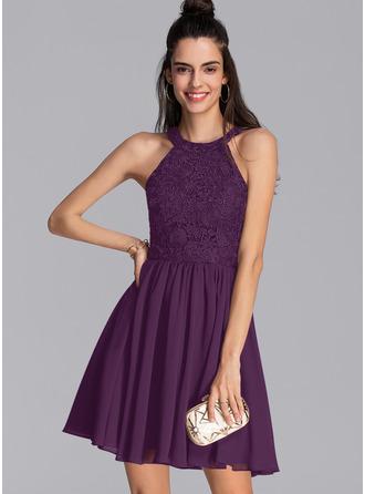 A-Line Scoop Neck Short/Mini Chiffon Prom Dresses