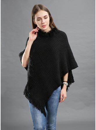 Solid Color/Tassel Oversized/Cold weather Artificial Wool Poncho