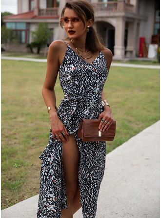 Print Sheath Sleeveless Midi Casual Sexy Vacation Type Dresses
