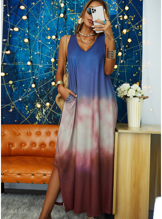 Tie Dye Shift Sleeveless Maxi Casual Vacation Dresses