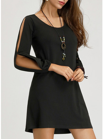 Solid Shift Cold Shoulder Sleeve Mini Little Black Casual Dresses