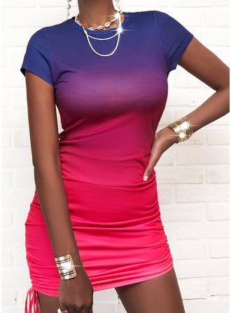Gradient Bodycon Short Sleeves Mini Casual Dresses