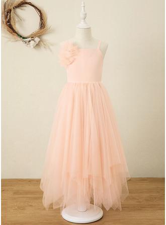 Áčkové Šaty Délka ke kotníkům Flower Girl Dress - Šifón/Organza Bez rukávů čtvercovým výstřihem S Květiny