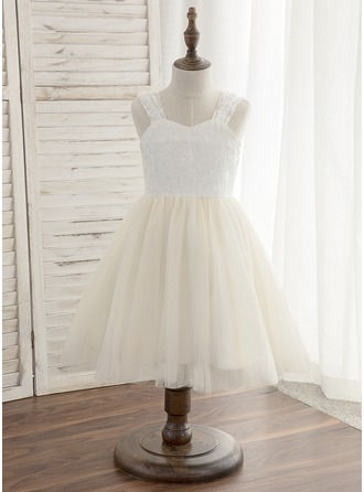 A-Line/Princess Knee-length Flower Girl Dress - Tulle/Lace Sleeveless Straps