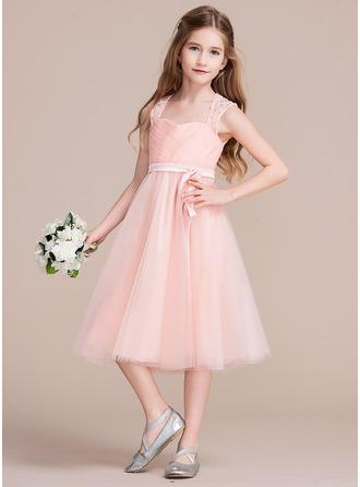 A-Linie/Princess-Linie Schatz Knielang Tüll Kleid für junge Brautjungfern mit Rüschen Lace Schleife(n)