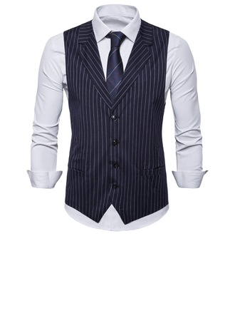 Stripe Polyester Viscose Men's Vest