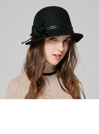 Dames Elegant Wol met Bloem Emmer hoed