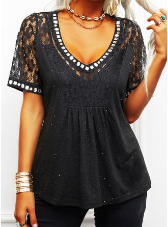 Lace Print Sequins V-Neck Short Sleeves Elegant Blouses